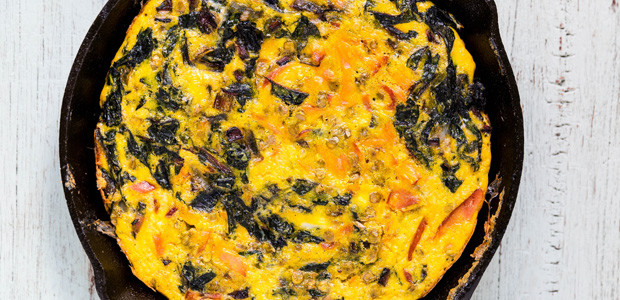Hearty Goose Egg Frittata with Gravlax, Brown Lentils and Chard